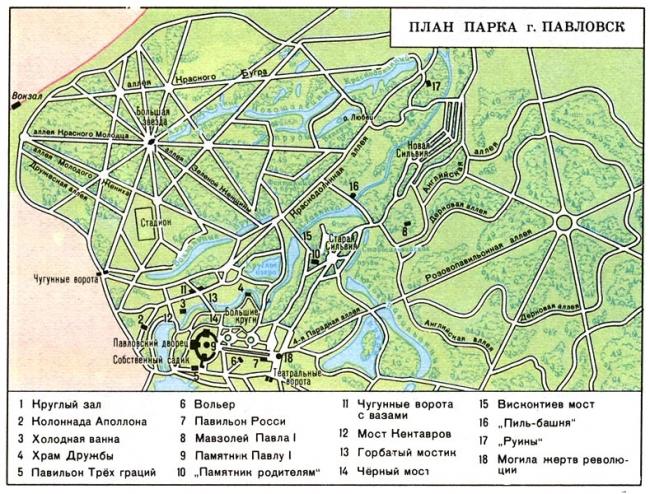 Схема павловского парка с достопримечательностями